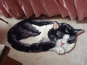 This rug reminds me of my sweet kitty Bootsie. :(