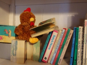 Chickie retreats to the stacks in the Beanieopolis Public Library.