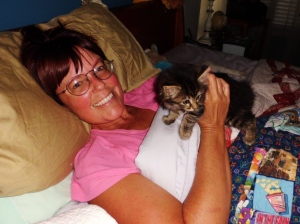 Miss Elizabeth gives Tama some kitty love after her surgery.
