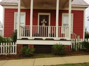 As it matures, we're going to train the jasmine to climb along the columns and porch rails.