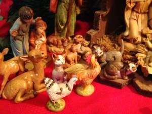 I have kitties, bunnies and chickens in my Nativity.  Don't you?