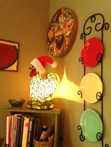 And who doesn't have a glowing chicken with a Santa hat right?