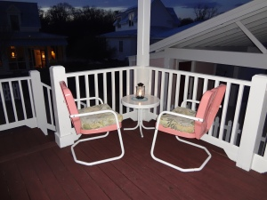 Back porch at sunset.