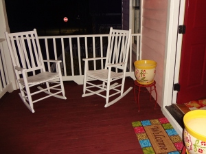 Front porch.  I've ordered a small porch swing, but these rockers look inviting for now.