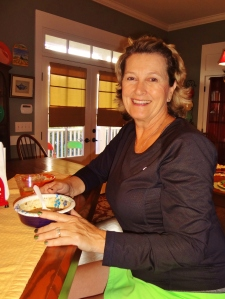 First guest and first-timer too! Tina was on her way to play tennis and needed some gumbo for energy.